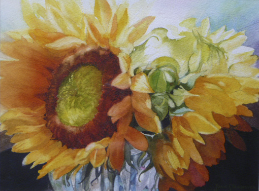 Sunflower and Glass by Joan Steinmeyer - SOLD